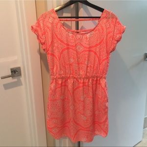 American Eagle orange and white flows dress